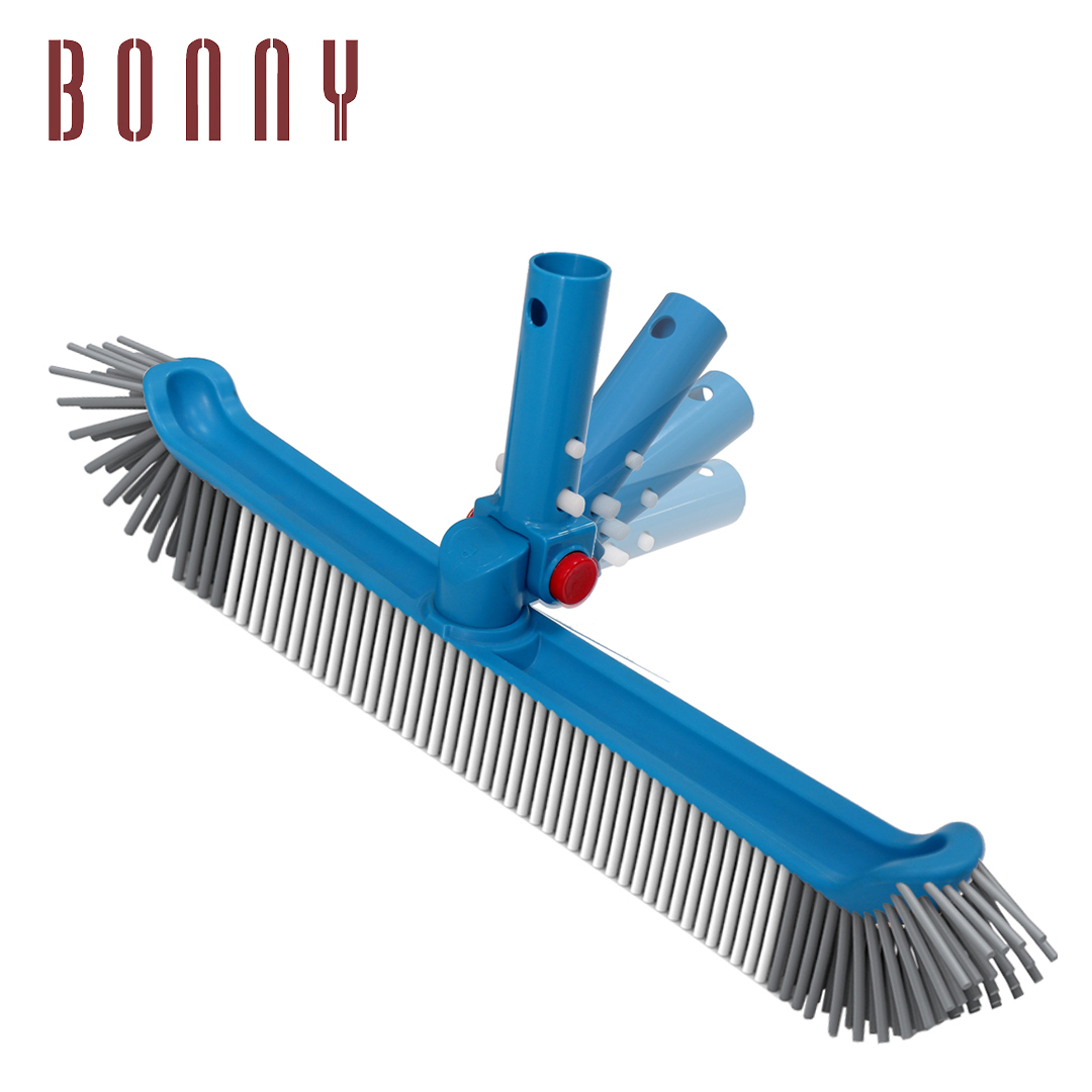 """Professional 20"""" Floor & Wall Pool Cleaning Brush with Adjustable Angle EZ Clip Handle - Curved Ends"""