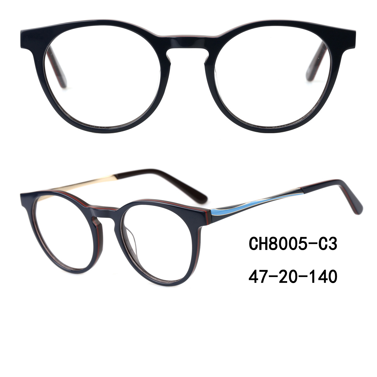 Square Metal Optical Frames(Black And Gold) Hot Sell