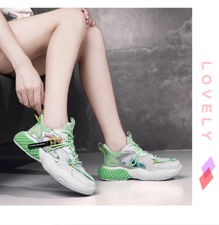 Chunky Oem Ladies Spring Summer Women Casual Breathable Lace-Up Height Increasing Shoes