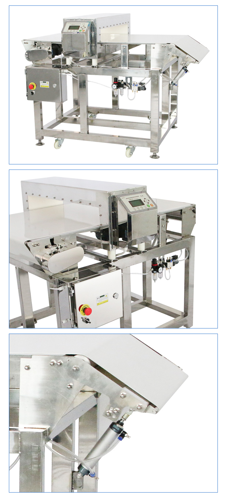 Lifting and rejecting metal detector for biscuits, bread, chocolate manufacturer factory