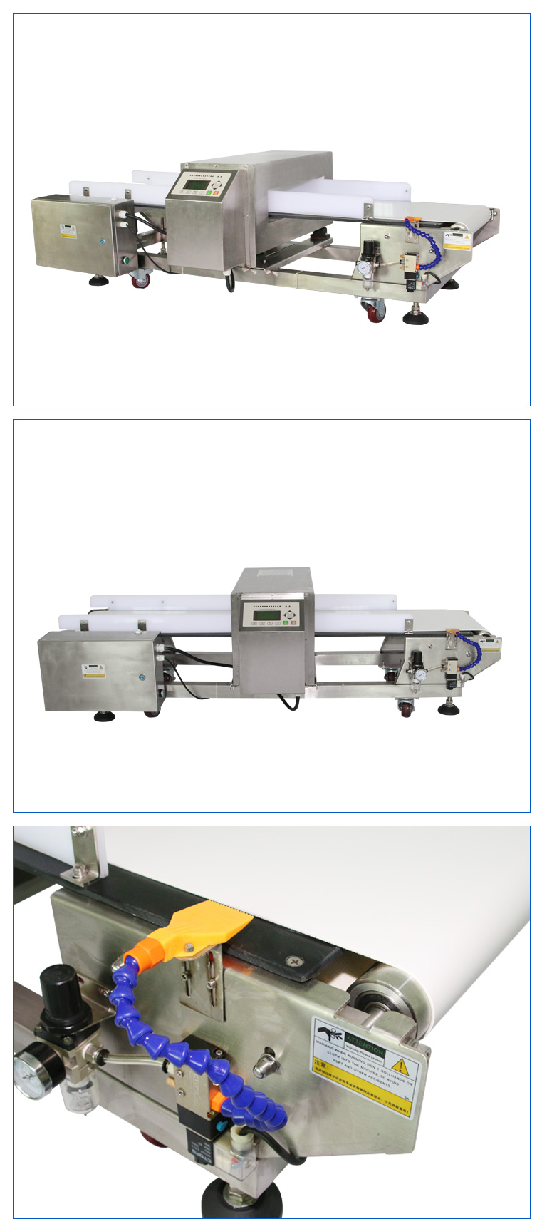 Blowing and removing metal detector for food,medicines,chemicals,printing