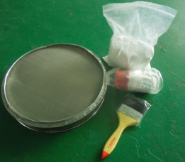 Mesh and parts for filtering test dust