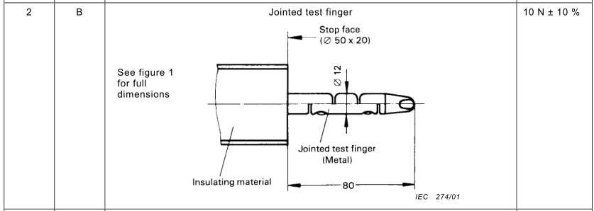 JOINTED TEST FINGER (IP GRADE: IP2X)