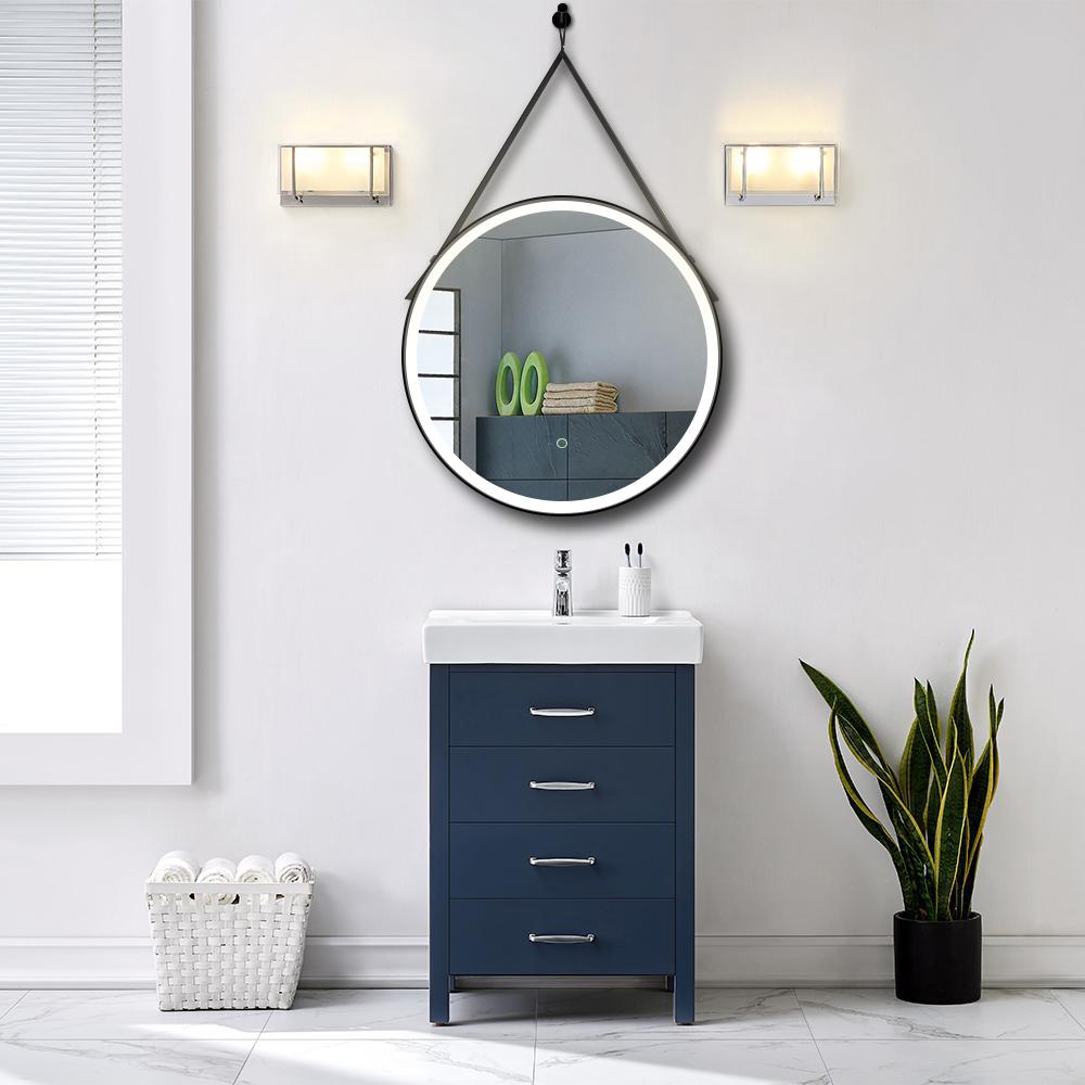Leather Hanging Round Led Bathroom Mirror