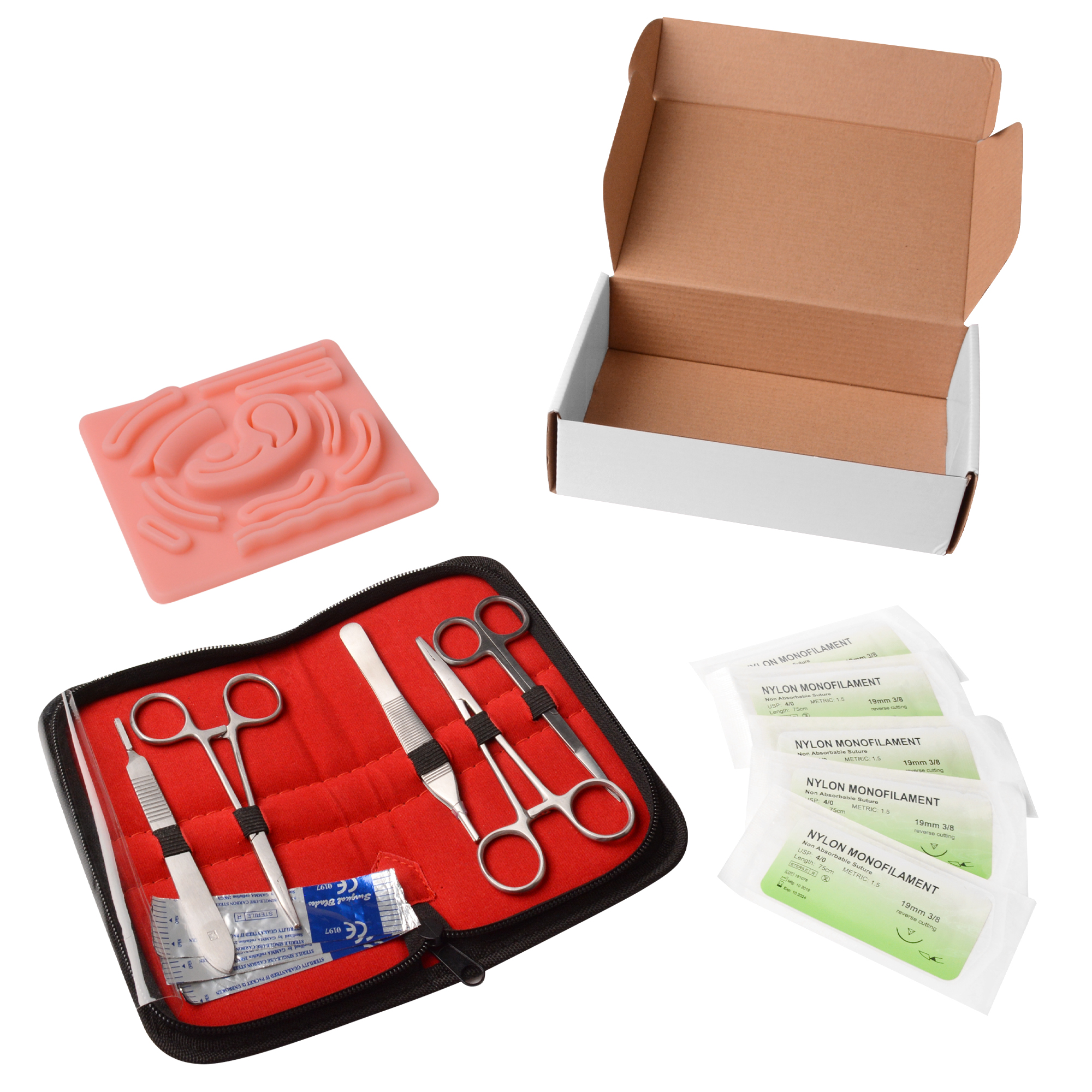 Surgical Laparoscope Suture Practice Kit for Medical Students Didactic Suture Training with Suture Practice Skin Pad