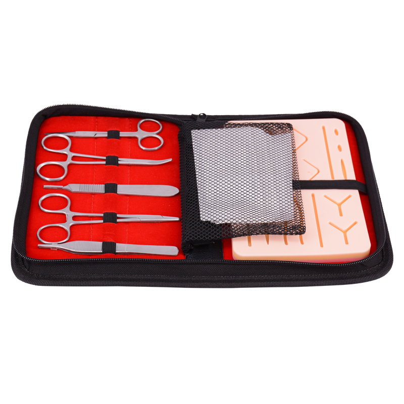 Surgical training use suture kit with all in one mesh pocket pouch 5 tools & suture pad included