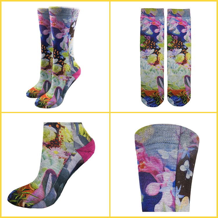 printed women crew socks