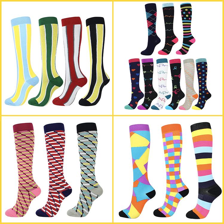 Custom Football Sports Compression Socks For Women Men Colorful Socks